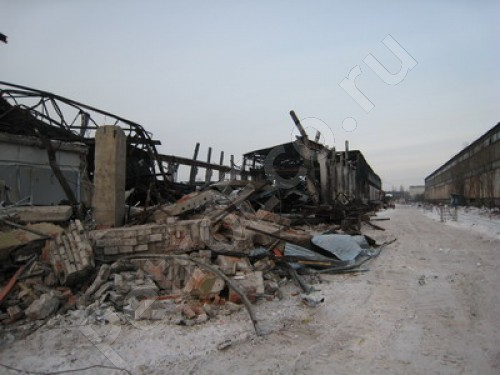 1. Разборка здания сгоревшего склада; 2. Вывоз и утилизация отходов; 3. Полное экологическое сопровождение, Демонтаж, снос зданий сгоревшего склада с вывозом